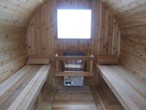 Knotty Barrel sauna interior