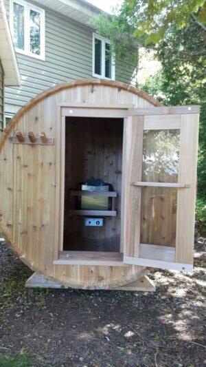Knotty Cedar Barrel sauna with electric heater