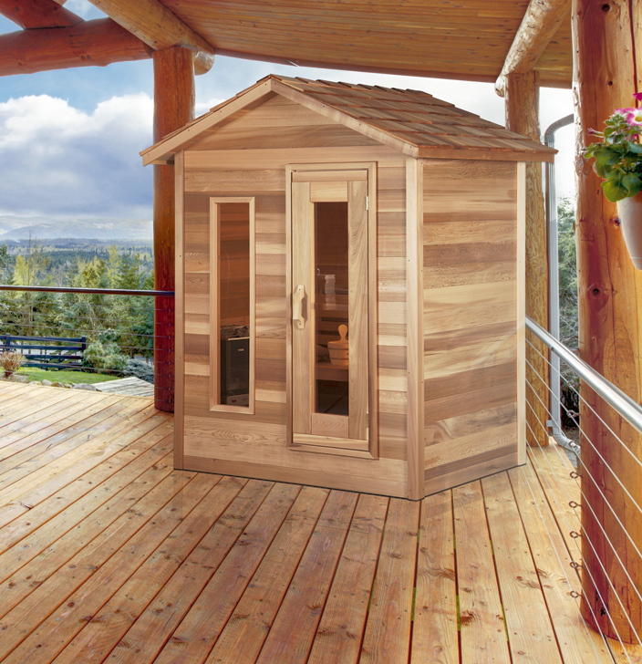 Outdoor red cedar cabin sauna 6x6 dundalk canada for Log cabin furniture canada