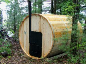 Traditional wood stove back for sauna