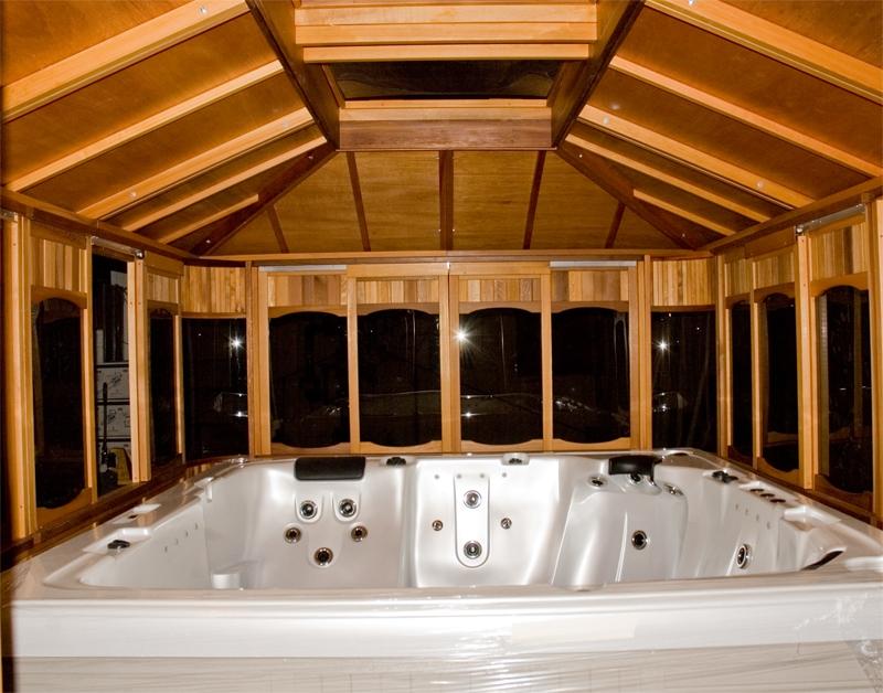 Islander gazebo dundalk canada barrel saunas gazebos for Spa gazebo plans