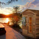 Beautiful sunset for sauna