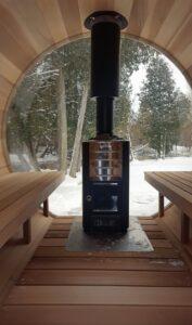 Harvia wood burning stove in sauna